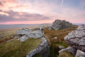 Lovely pink clouds after sunset. Beardown Tor, Dartmoor