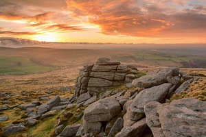 Fiery sunset taken from Belstone Tor, Dartmoor