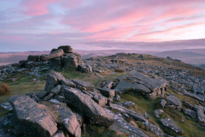 Lovely pink clouds after sunset over Belstone Tor, Dartmoor