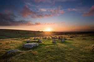 Sunset over the Nine Maidens, Belstone, Dartmoor