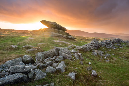 Sunset from Belstone Logan stone, Dartmoor