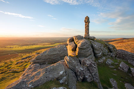 Golden light on Widgery Cross, Brat Tor, Dartmoor