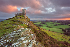 Dusky pink sunset over Brentor Church, Dartmoor