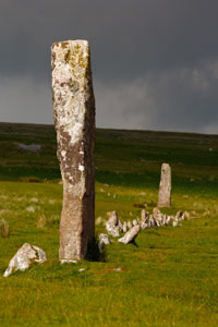 Tall standing stone at Drizzlecombe, Dartmoor