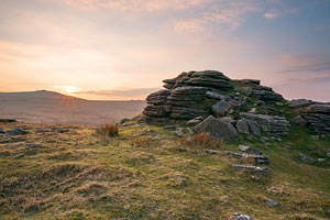 Sunset over East Mill Tor, Dartmoor