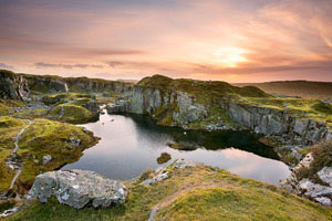 Sunset over Foggintor Quarry, Dartmoor