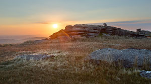 Lovely sunset over Great Mis Tor, Dartmoor