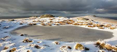 Frozen pond on High Willhays, Dartmoor