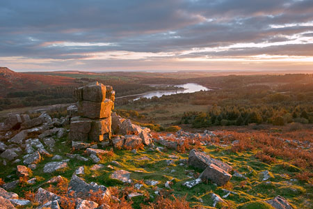 Sundown from Leather Tor overlooking Burrator Reservoir, Dartmoor