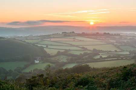 Misty sunrise over Nattadon, Chagford