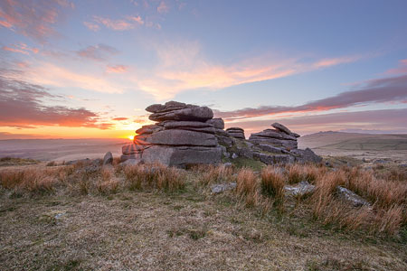 North Hessary Tor at sunset, Dartmoor