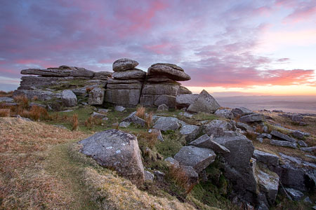 Pink clouds at sunset over North Hessary Tor, Dartmoor
