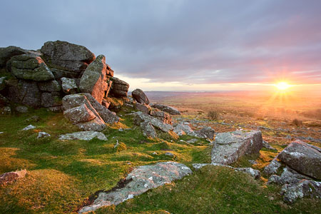 Beautiful sunset from Pew Tor, Dartmoor