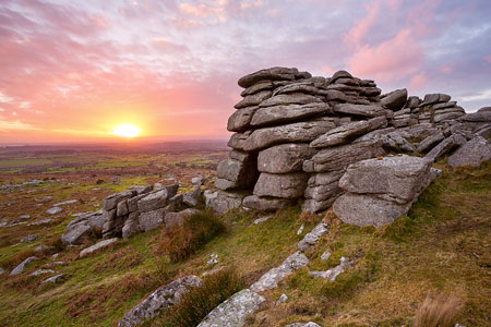 Pink sunset over Pew Tor, Dartmoor