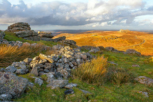 Golden light over Rippon Tor, Dartmoor