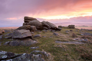 Dawn over Rowtor, Dartmoor