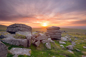 Dusky sunset over Rowtor, Dartmoor