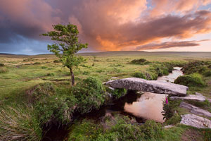 Stormy sunset near Scorhill, Dartmoor