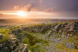 Sunset over Swell Tor Quarry, Dartmoor