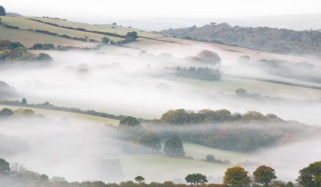 Mist rising from the Teign Valley, Dartmoor