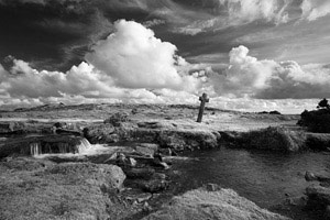 Black and white image of Windy Post, Dartmoor